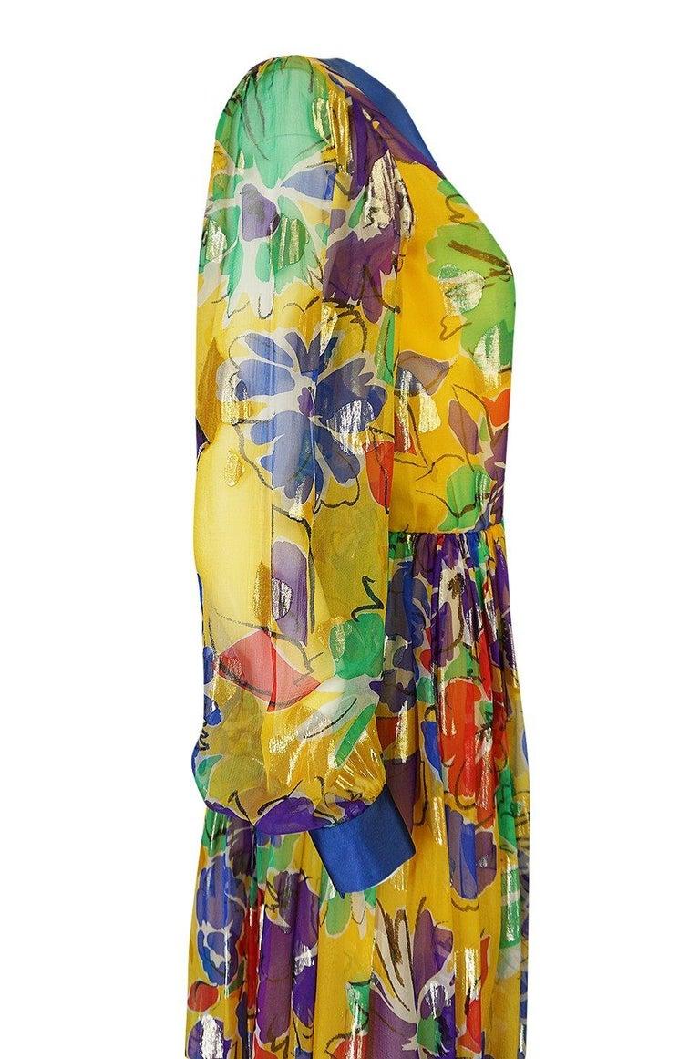 1970s Givenchy Silk Chiffon Floral & Metallic Heart Print Dress For Sale 3