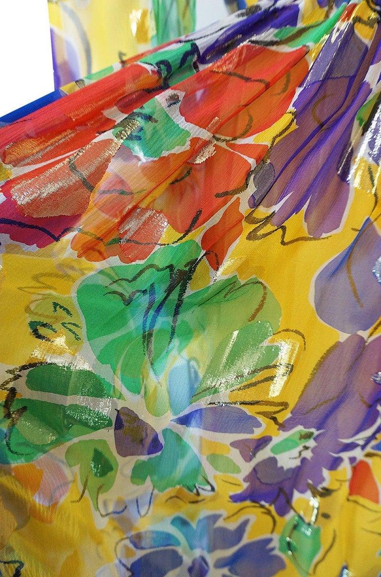 1970s Givenchy Silk Chiffon Floral & Metallic Heart Print Dress For Sale 4