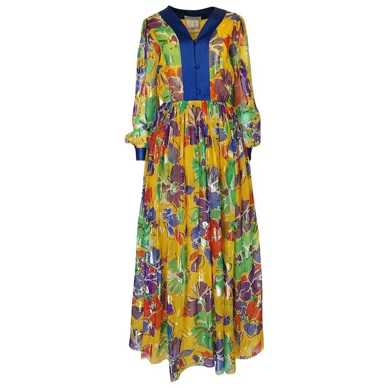 1970s Givenchy Silk Chiffon Floral & Metallic Heart Print Dress For Sale