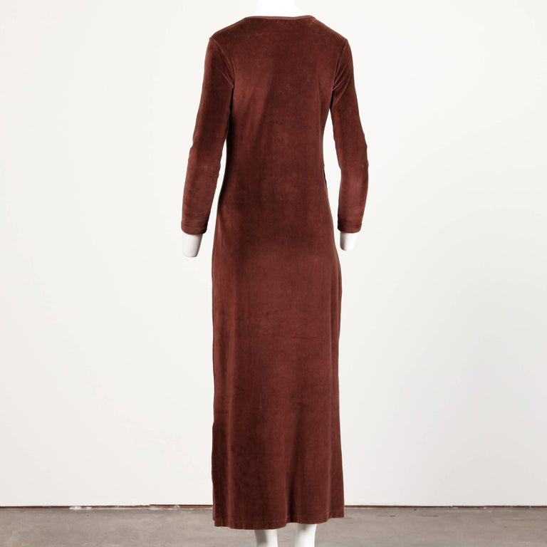 1970s Givenchy Vintage Brown Velour Maxi Dress with Embroidered Logo In Excellent Condition For Sale In Sparks, NV