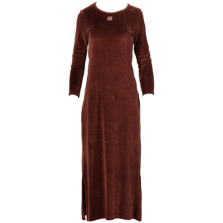 1970s Givenchy Vintage Brown Velour Maxi Dress with Embroidered Logo For Sale 1
