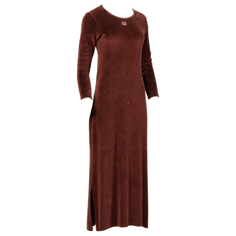 1970s Givenchy Vintage Brown Velour Maxi Dress with Embroidered Logo For Sale