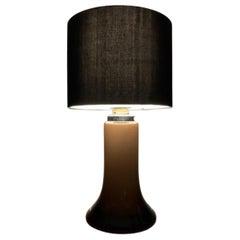 1970s Glashütte Limburg Brown and Clear Glass Chrome Table Lamp Inc Shade