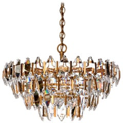1970s Glass and Brass-Plated Steel Chandelier Attributed to Palwa