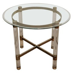 1970's Glass and Brass Vintage Table