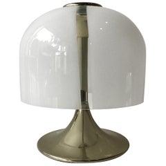 1970s Glass Mushroom Shade Lamp