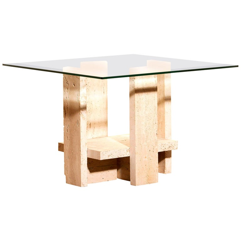1970s, Glass Travertine Side Coffee Table by Willy Ballez For Sale