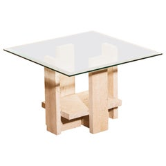 1970s, Glass Travertine Side Coffee Table by Willy Ballez
