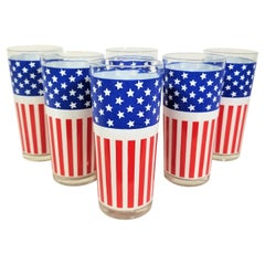 1970s Glassware Barware Red White and Blue Stars and Stripes American Flag