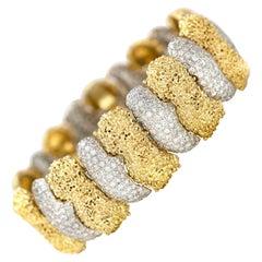 1970s Gold and Diamond Bracelet
