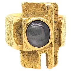1970s Gold and Sapphire Modernist Ring by Louis Perrier
