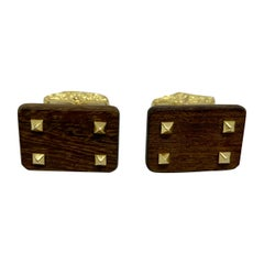 1970s Gold and Wood Cufflinks