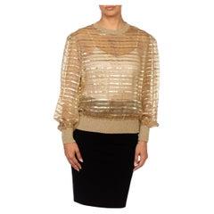 1970S Gold & Beige Silk Lurex Chiffon Stripe Sheer Pullover Blouse