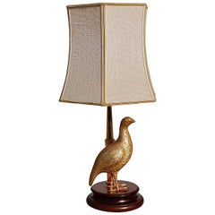 1970s Gold Colored Bird Table Lamp