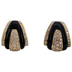 1970s Gold Diamond and Onyx Earrings