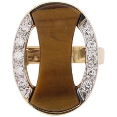 1970s Gold Diamond and Tiger's Eye Modernist Ring