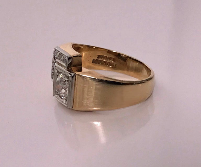 Women's or Men's 1970s Gold Diamond Ring For Sale