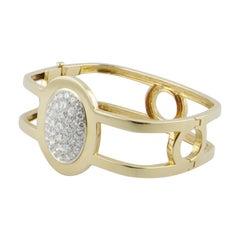 1970s Gold Diamond Squared Bangle Bracelet
