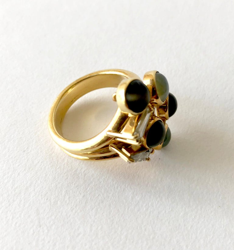 Modernist 1970s Gold Diamond with Cats Eye Natural Gemstones Dinner Cocktail Ring For Sale