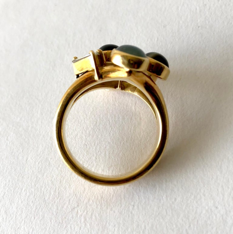 Women's 1970s Gold Diamond with Cats Eye Natural Gemstones Dinner Cocktail Ring For Sale