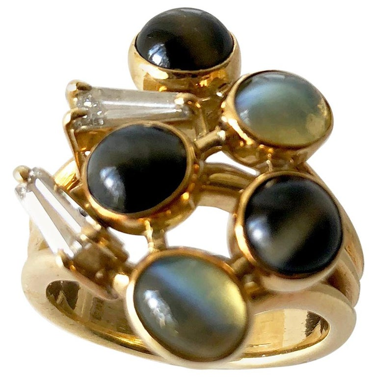1970s Gold Diamond with Cats Eye Natural Gemstones Dinner Cocktail Ring For Sale
