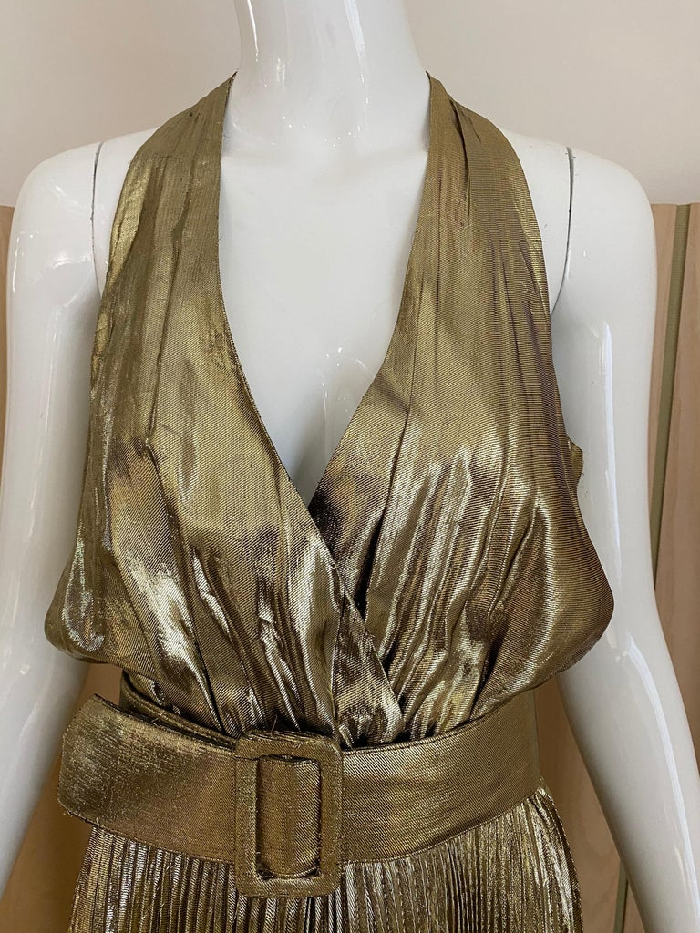 1970s Gold Lamé Sleeveless Pleated cocktail Dress For Sale 1