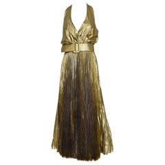 1970s Gold Lamé Sleeveless Pleated cocktail Dress