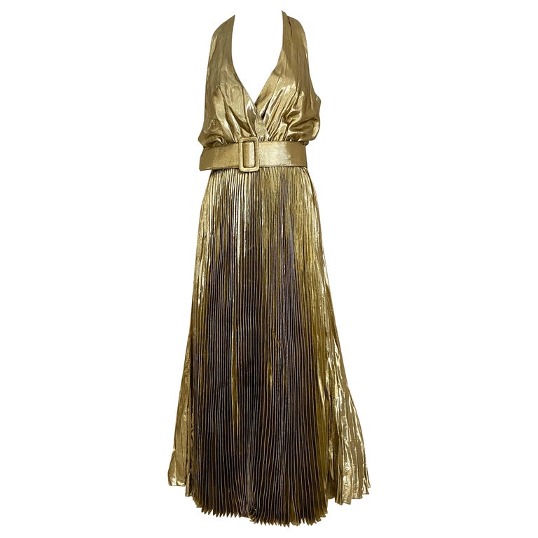 1970s Gold Lamé Sleeveless Pleated cocktail Dress For Sale
