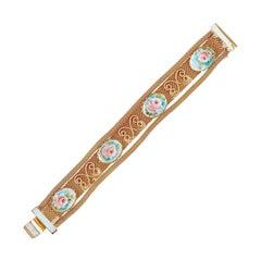 1970s Gold Mesh Bracelet With Pink Rose Limoges Cabochons