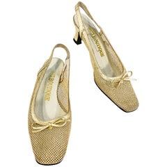 1970s Gold Metallic Mesh and Leather Heels