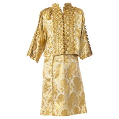 1970S Gold Metallic Poly Lurex Embroidered Suit Woven With Golden Peacocks!
