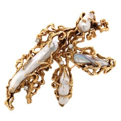 1970s Gold Pearl and Diamond Freeform Pendant Brooch