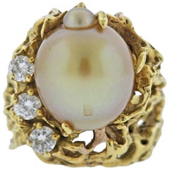 1970s Gold Pearl Diamond Free-Form Ring