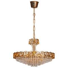 1970s, Gold Plaited Brass Chandelier with Faceted Crystals Made by Palwa Germany