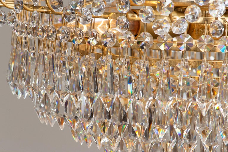 1970s, Gold-Plated and Faceted Crystal Chandelier Attributed to Rejmyre, Sweden For Sale 1
