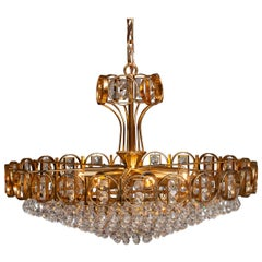 1970s, Gold Plated Brass Chandelier with Faceted Crystals Made by Palwa Germany