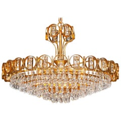 1970s, Gold-Plated Brass Chandelier with Faceted Crystals Made by Palwa, Germany