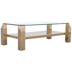 1970s Gold-Plated Glass Coffee Table