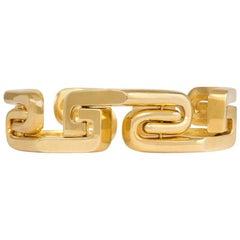 1970s Gold Stylized Greek Key Design Bracelet