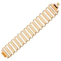 1970s Gold Tone Roller Link Bracelet