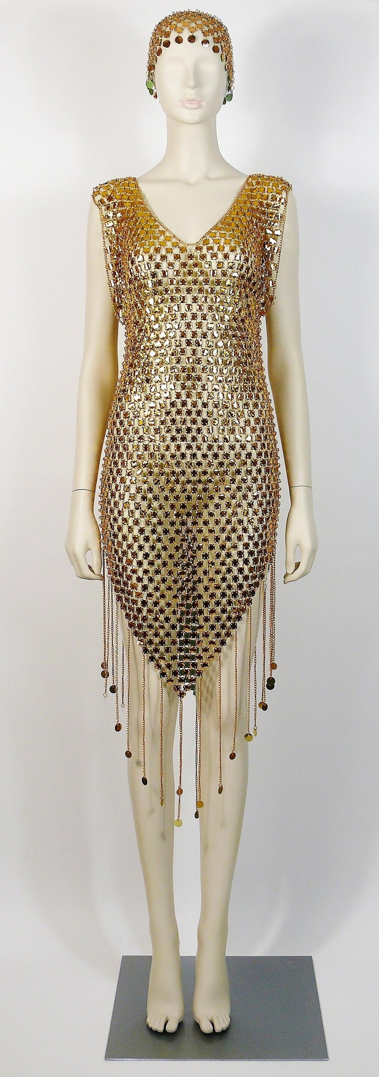 Brown 1970s Gold Toned Rhodhoid Chainmail Fringed Dress and Hat For Sale