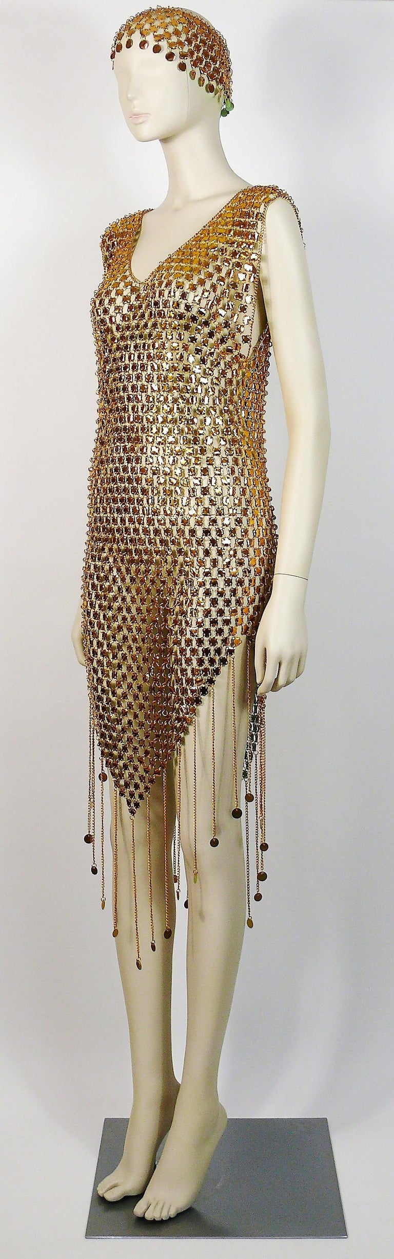 1970s Gold Toned Rhodhoid Chainmail Fringed Dress and Hat For Sale 1