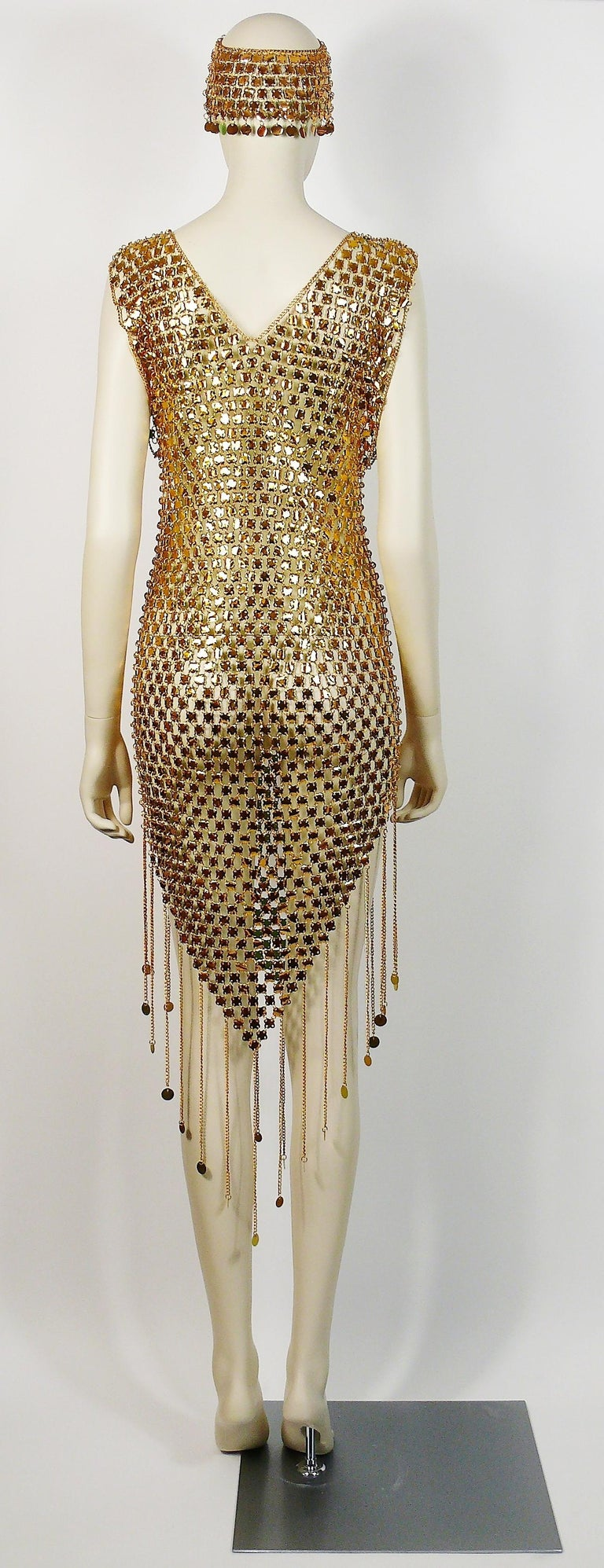 1970s Gold Toned Rhodhoid Chainmail Fringed Dress and Hat For Sale 2
