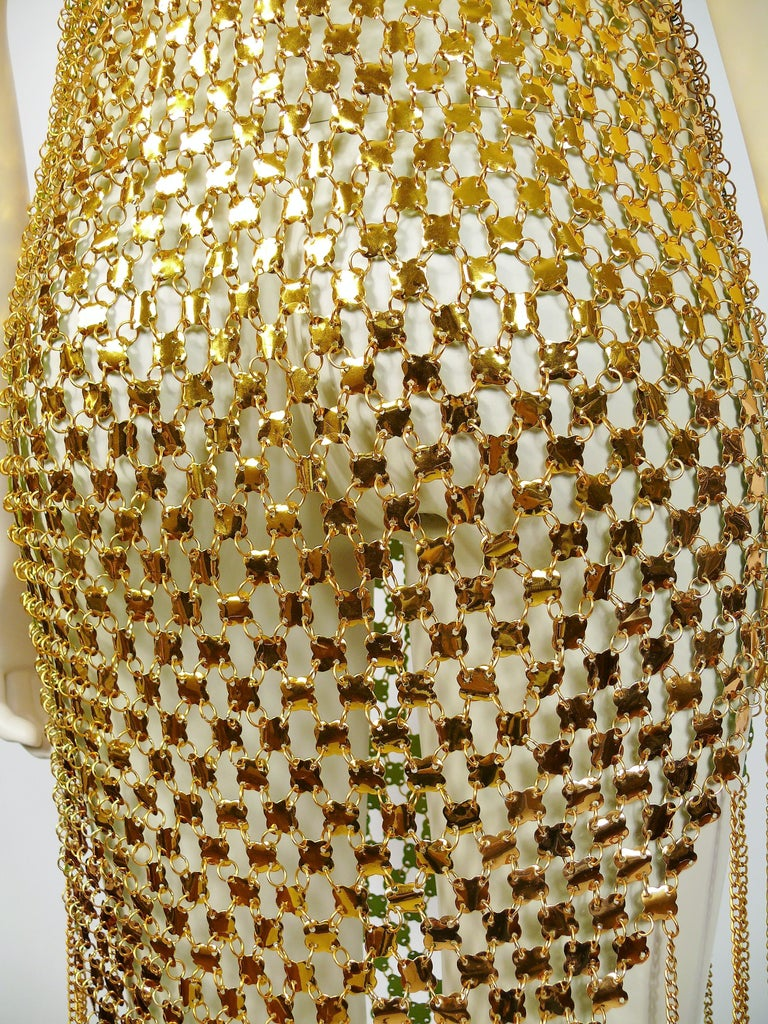 1970s Gold Toned Rhodhoid Chainmail Fringed Dress and Hat For Sale 3