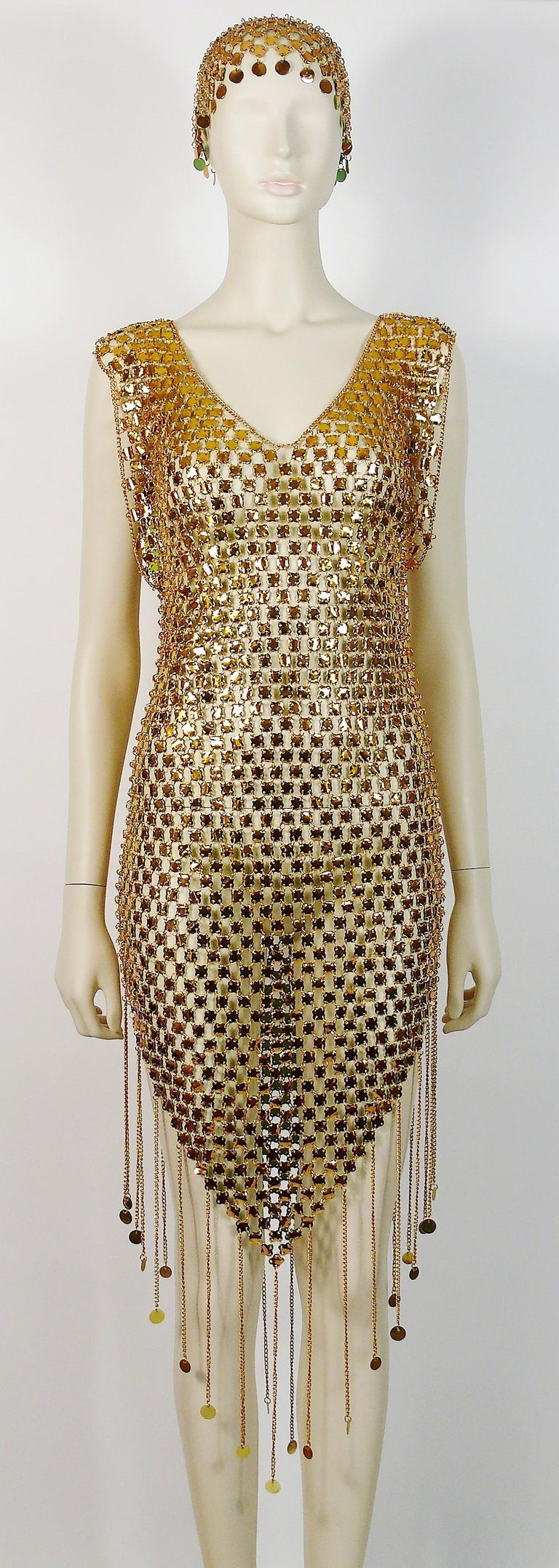 Women's 1970s Gold Toned Rhodhoid Chainmail Fringed Dress and Hat For Sale