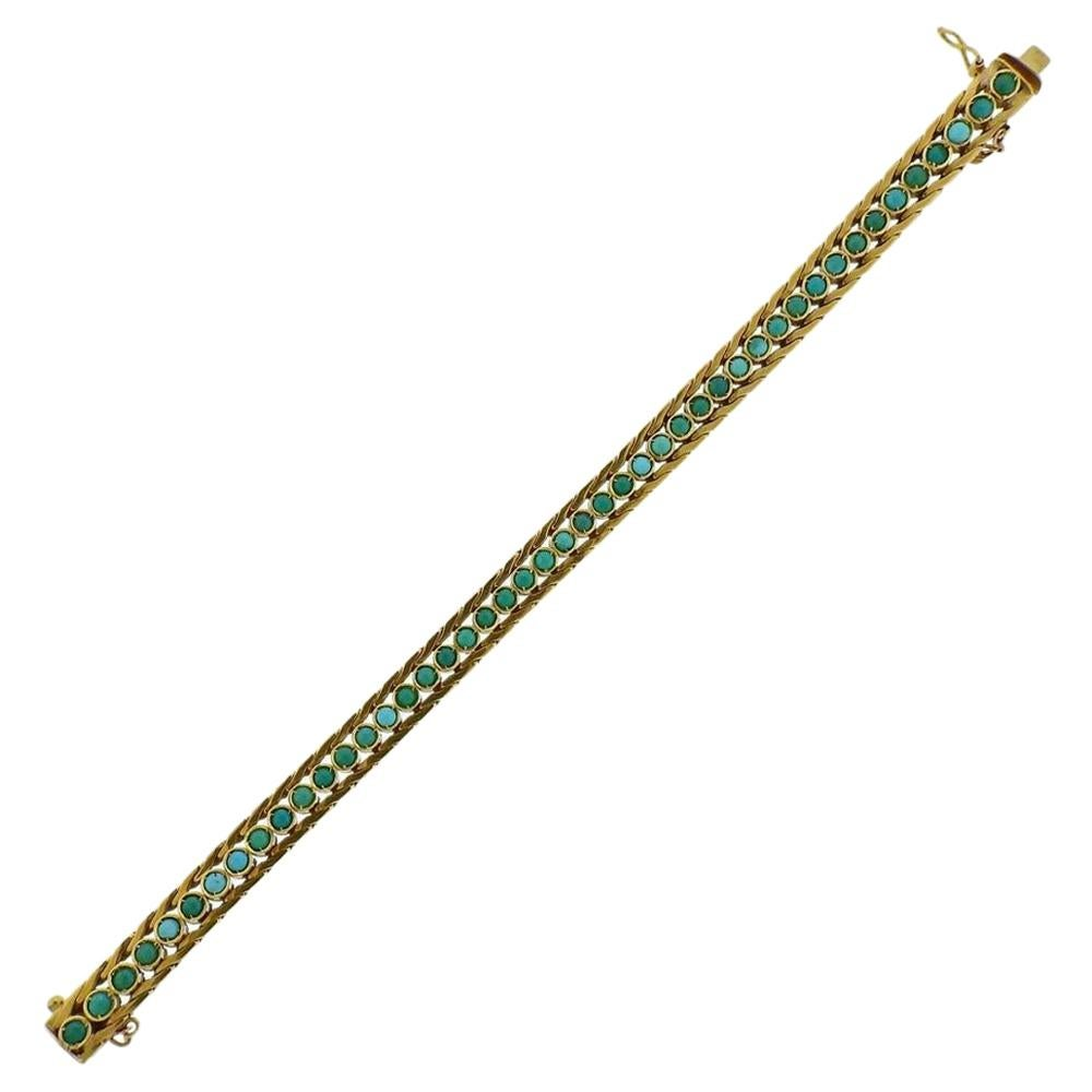 1970s Gold Turquoise Bracelet