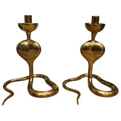 1970s Golden Brass Italian Couple of Cobra-Shaped Candelsticks, with Contrasts