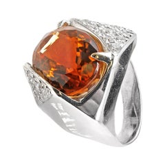 1970s Golden Orange Citrine Diamond White Gold Ring