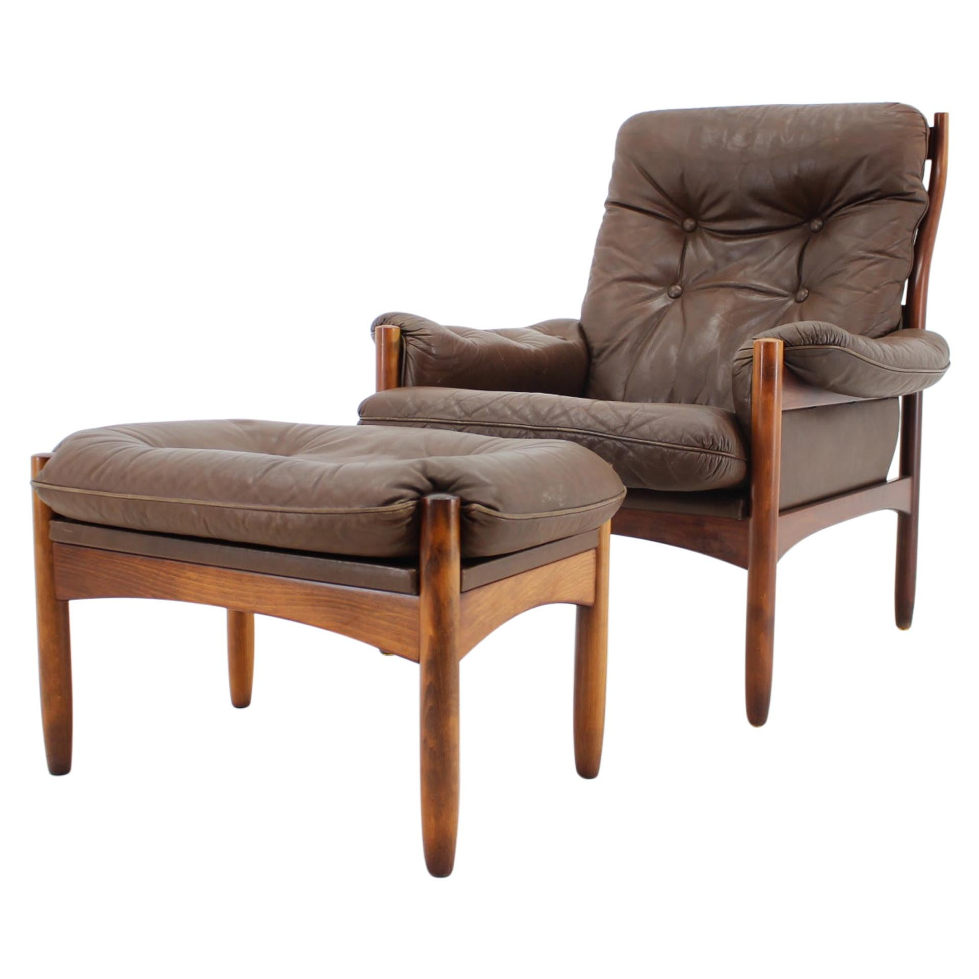 1970s Göte Möble Leather Lounge Chair and Stool, Sweden