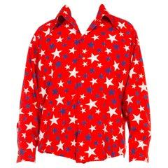 1970S Granada Red White & Blue Cotton Men's Long Sleeve Americana Stars Shirt